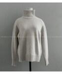 バック切り替えラインタートルネックニットセーター (ニット・セーター)