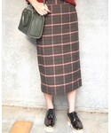 GU | チェックナローミディスカート(スカート)