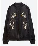 ZARA | 【フラワー刺繍入りボンバージャケット】カラー:ブラック、サイズ:S(その他アウター)