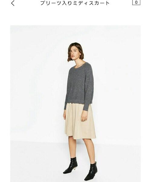 ZARA(ザラ)の「プリーツ入りミディスカート(スカート)」