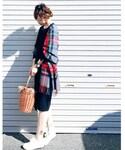 TONAL | 【CLASSY.コラボ】(洗える/シワになりにくい/ストレッチ機能)スリットネックブラウスxタイトスカート セットアップ(シャツ・ブラウス)