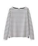 GU | ボーダーボートネックT(長袖)(Tシャツ・カットソー)