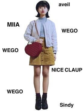 シロタ ミウさんの「WEGO/ハートキルティングショルダーバッグ(WEGO|ウィゴー)」を使ったコーディネート