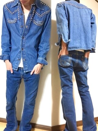 「70's Levi's Fresh Produce MADE IN USA スタッズシャツ(VINTAGE)」 using this kakuhou looks