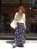 YUKO SAKAGUCHI さんの「【再入荷】花柄スカート(TRUNO by NOISE MAKER|トルノバイノイズメーカー)」を使ったコーディネート