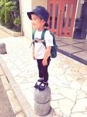 kazumiさんの「Kids Classic Logo Bucket Hat(STUSSY ステューシー)」を使ったコーディネート