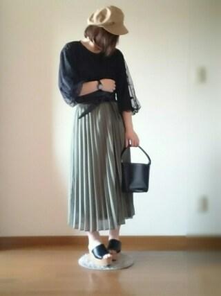 chiro!♡*さんの「WOMEN シフォンプリーツスカート(ユニクロ|ユニクロ)」を使ったコーディネート