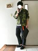akioさんの「MEN エクストラファインコットンブロードスタンドカラーシャツ(長袖)(ユニクロ|ユニクロ)」を使ったコーディネート