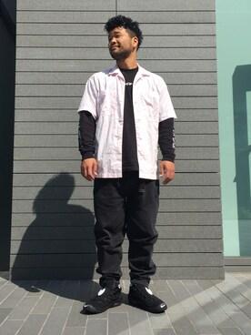 EN ROUTE GINZA|H.Satoさんのシャツ/ブラウス「ENR オープンカラーショートスリーブシャツ(EN ROUTE|アンルート)」を使ったコーディネート