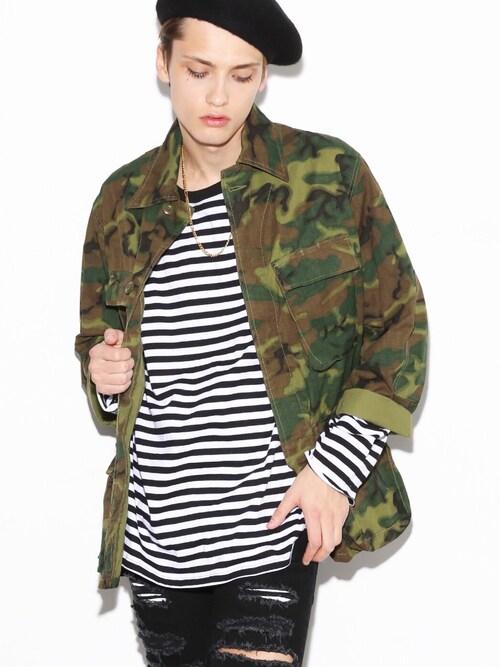 LEGENDA_TOKYOさんの「BACK LOGO CAMOUFLAGE BDU ジャケット(LEGENDA)」を使ったコーディネート