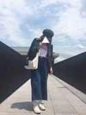 natsukiさんの「裾フリンジイージーデニムパンツ(CIAOPANIC TYPY|チャオパニックティピー)」を使ったコーディネート