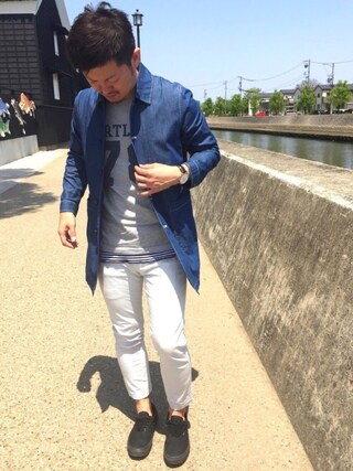 yosukeさんの「【機能性素材】ワッフルロングタンク/709727(GLOBAL WORK グローバルワーク)」を使ったコーディネート