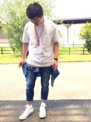 yosukeさんの「MEN ビッグシルエットポケ付きT(半袖)(ユニクロ ユニクロ)」を使ったコーディネート