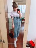 Hsinさんの「ストレッチデニムナロースカート(w closet|ダブルクローゼット)」を使ったコーディネート