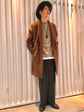 RAGEBLUE京都ヨドバシ店|森田さんのその他アウター「<メリノウール使用>ショールカラーガウン/738992(RAGEBLUE|レイジブルー)」を使ったコーディネート