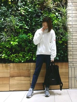 MILKFED. AT HEAVEN27 名古屋|伊藤有希さんの「BAR PATCH SWEAT TOP(MILKFED.|ミルクフェド)」を使ったコーディネート