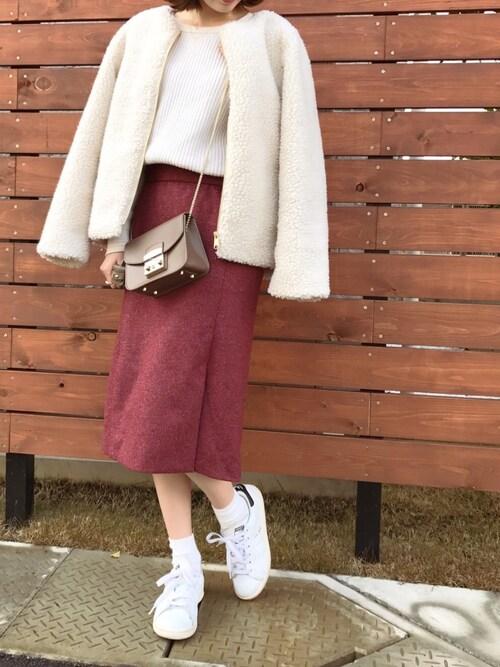 ukapiさんの「ストレッチツイードカラースカート◆(IENA)」を使ったコーディネート