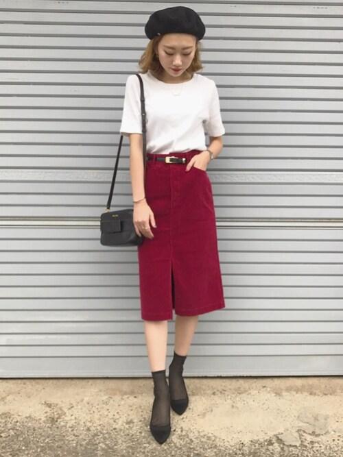 ukapiさんの「コーデュロイタイトスカート◆(Spick & Span)」を使ったコーディネート