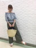 Yuiさんの「ベイカーワイドパンツ(ViS(ビス)|ビス)」を使ったコーディネート