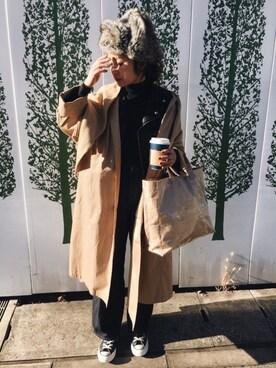 ぺこさんのステンカラーコート「STAND ALONEバックスリットコート◆(IENA|イエナ)」を使ったコーディネート