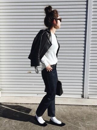 ぺこさんの「■別注■beautiful people×MIDWEST ライダースジャケット(beautiful people|ビューティフルピープル)」を使ったコーディネート