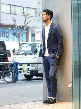 EDIFICE TOKYO 渋谷店|TERAさんのテーラードジャケット「◇EDB T400 コンパクトカルゼ 2ボタンジャケット(EDIFICE|エディフィス)」を使ったコーディネート