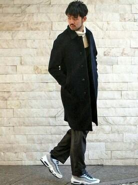 417 by EDIFICE渋谷店|TERAさんのステンカラーコート「◇EDIFICE TOKYO/Aラインバルカラーコート(EDIFICE|エディフィス)」を使ったコーディネート