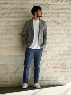 417 by EDIFICE渋谷店 TERAさんのテーラードジャケット「《予約》Coolmax サーフニット2ボタンジャケット(EDIFICE エディフィス)」を使ったコーディネート