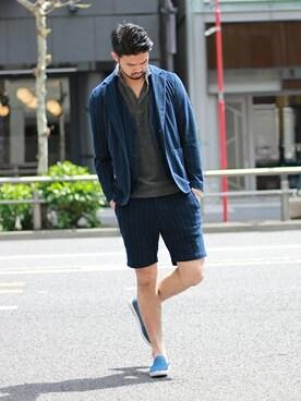 EDIFICE TOKYO 渋谷店|TERAさんのテーラードジャケット「《予約》ストライプパイルジャケット(EDIFICE|エディフィス)」を使ったコーディネート