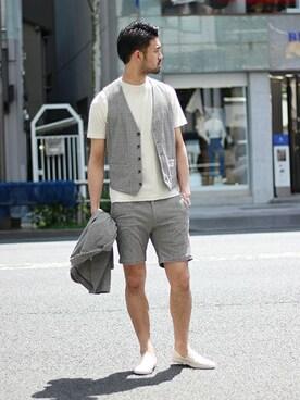 EDIFICE TOKYO 渋谷店|TERAさんのブルゾン「《予約》ヘリンボーン パイルジレ(417 EDIFICE|フォーワンセブン エディフィス)」を使ったコーディネート