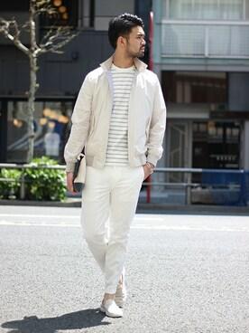 EDIFICE TOKYO 渋谷店|TERAさんのブルゾン「《予約》ライトシャインメモリーハリントンブルゾン(EDIFICE|エディフィス)」を使ったコーディネート