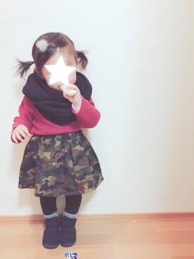 OTO♡MACHUさんの「シンプルハイネックTシャツ(BRANSHES ブランシェス)」を使ったコーディネート