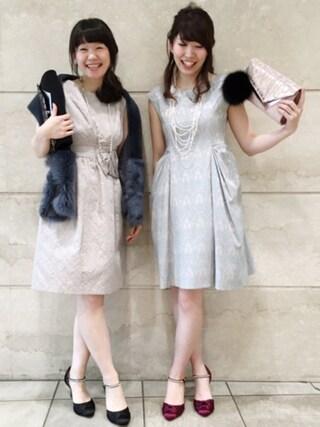 JINES|Jines Officialさんの「アラベスクジャガード ドレス 【 結婚式・二次会・パーティードレス 】(Jines|ジネス)」を使ったコーディネート