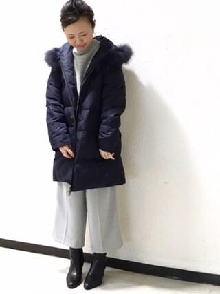 JINES|Jines Officialさんの「ミドル丈 ダウンコート ( ファー取り外し可能 )(Jines|ジネス)」を使ったコーディネート