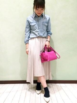 JINES|Jines Officialさんの「Healthy Cayenne 裾フリンジデニムシャツ(Jines|ジネス)」を使ったコーディネート
