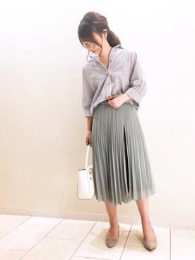 JINES|Jines Officialさんの「シフォンジョーゼット×レースプリーツスカート(Jines|ジネス)」を使ったコーディネート