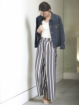 nano・universe 東京 nano・universe lady's STAFFさんのデニムジャケット「【予約】【GINGER 5月号掲載】Lee×安西こずえ/別注デニムジャケット(Lee リー)」を使ったコーディネート