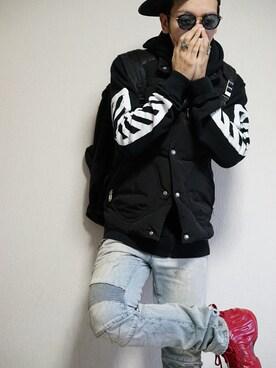 「Balmain Slim-Fit Distressed Denim Biker Jeans(Balmain)」 using this あつみ(QUILTMARRIDGE) looks
