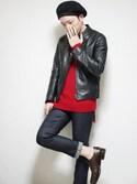 「Maison Martin Margiela Zip-feature leather jacket(Maison Martin Margiela)」 using this あつみ(QUILTMARRIDGE) looks