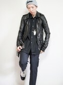 「Rick Owens Slim-Fit Leather Biker Jacket(Rick Owens)」 using this あつみ(QUILTMARRIDGE) looks