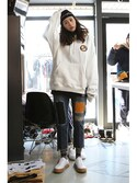 「Ceremony Tape Wide hoodie_WHITE(RMTC)」 using this romanticcrown looks