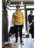 romanticcrownさんの「Laundry Day hoodie_Mustard(RMTC|ロマンティッククラウン)」を使ったコーディネート