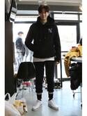 romanticcrownさんの「Laundry Day hoodie_Black(RMTC|ロマンティッククラウン)」を使ったコーディネート