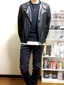 「JASPER LEATHER BIKER(ALLSAINTS)」 using this hide looks