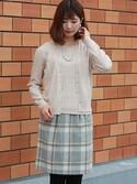 ASTORIAODIER(アストリアオディール)さんの「(日本製)シャギーチェックタイトスカート(TRUDEA)」を使ったコーディネート