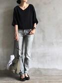 accoさんの「《追加》CONVERSE TOKYO バケットポーチ◆(SLOBE IENA|スローブイエナ)」を使ったコーディネート