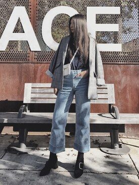 "chicbuffet is wearing Rag & Bone ""Women's Rag & Bone/jean Lou High Waist Crop Jeans"""