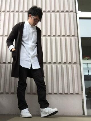 arenaさんの「レーヨン麻ストレッチ長袖バンドカラーロングシャツ(AZUL by moussy|アズールバイマウジー)」を使ったコーディネート