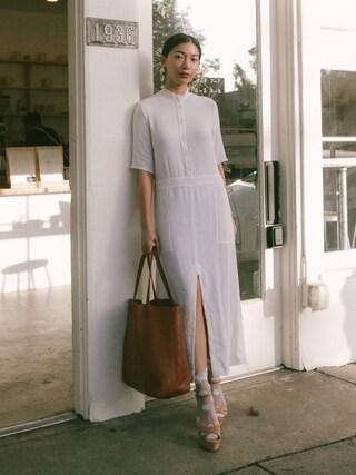 「Raquel Allegra - Crepe Midi Dress - Ivory(raquel allegra)」 using this Stephanie Liu  looks