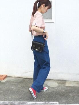 浅倉 まいさんの「AEVILコラボロゴ刺繍半袖TEE(UNITED TOKYO|ユナイテッドトウキョウ)」を使ったコーディネート